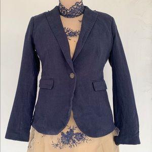 NWOT British Khaki One Button Linen Blazer